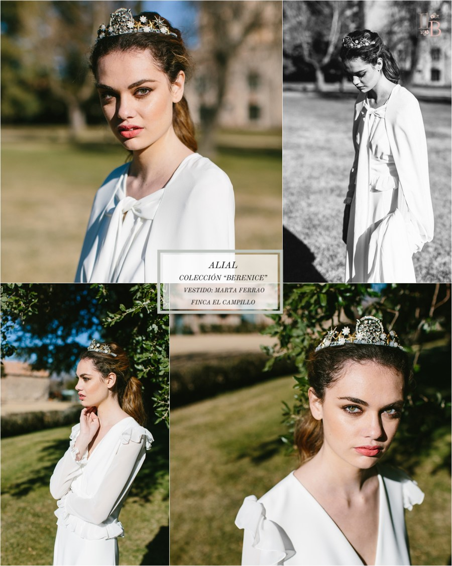 Berenice,la última colección deAlial.Vestido de novia de Marta Ferrao. Finca el Campillo. Flores Savia Bruta.