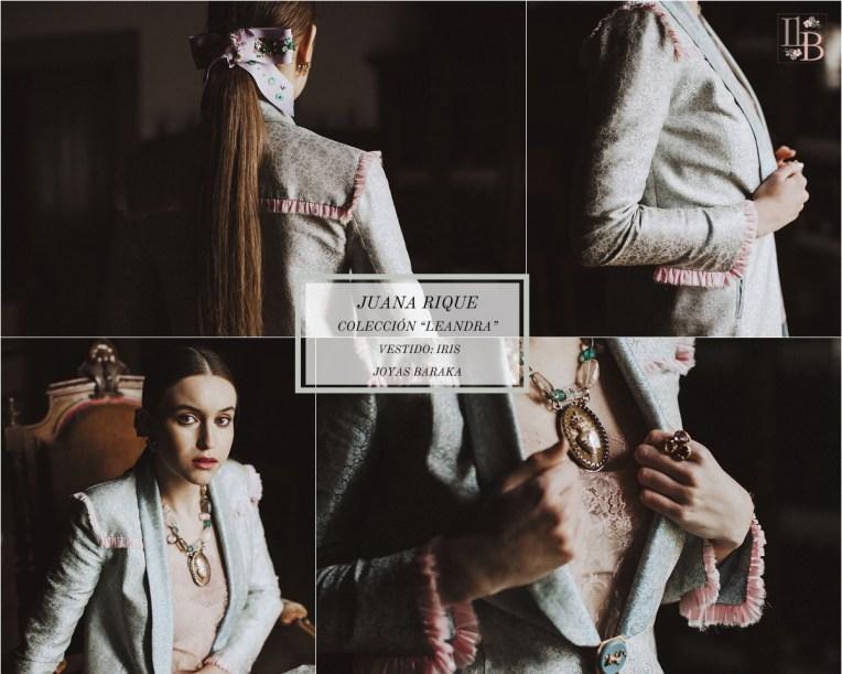 Juana Rique presenta su colección Leandra. Vestido Iris. Joyas Baraka