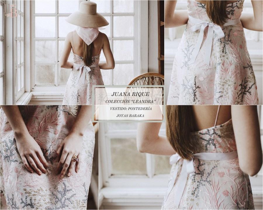 Juana Rique presenta su colección Leandra. Vestido Pontedería. Joyas Baraka