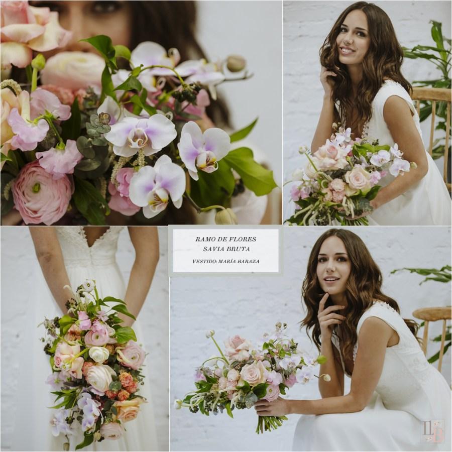 Nueva colección de ramos de novia de Savia Bruta. Vestido novia María Baraza. Post en Llega mi Boda.