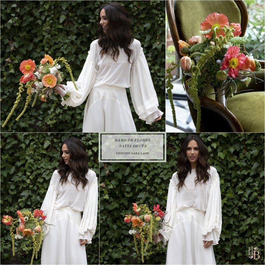 Nueva colección de ramos de novia de Savia Bruta. Vestido novia Sara Lage. Post en Llega mi Boda.