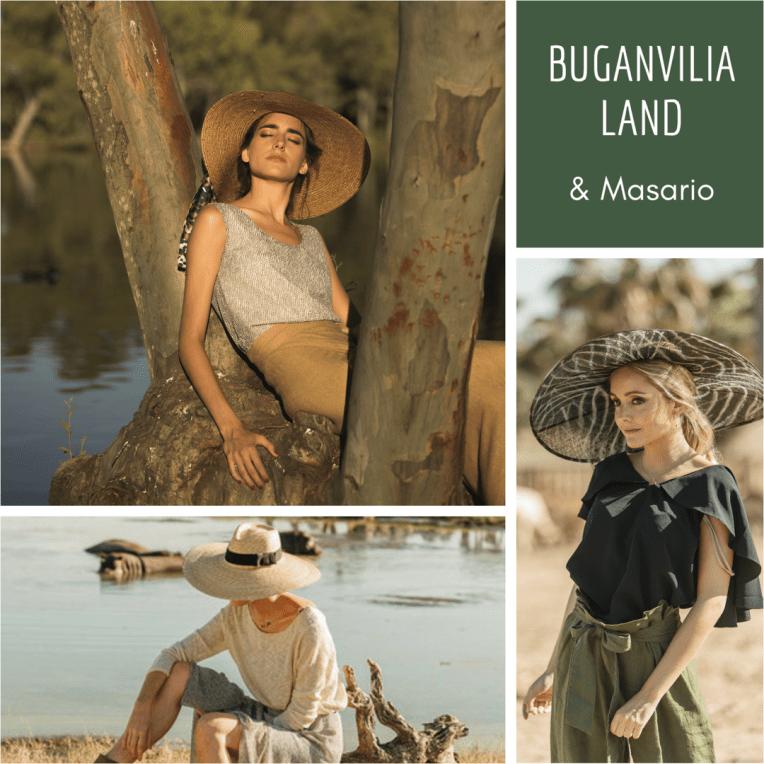 colección de Buganvilia Land inspirada en África con tocados y sombreros de Masario y joyitas de 2enespiral.