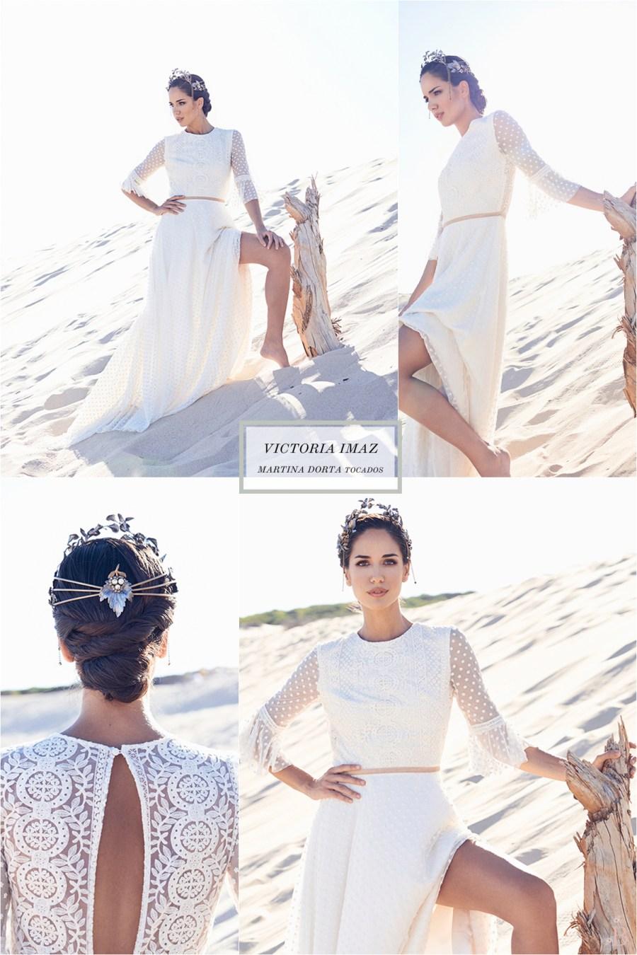 Una novia en Tarifa. Vestidos de novia de Victoria Imaz. Tocados de Martina Dorta.