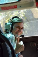 Loles in the helicopter