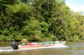 the pirogue with our material
