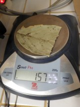 Weighing the dried leaves