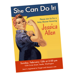 Rosie the Riveter Baby Shower Invitation