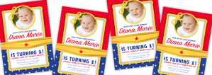 Wonder Woman first birthday invitations