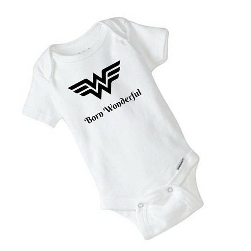 Wonder Woman Baby Onesie – Born Wonderful