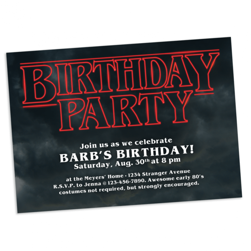 Stranger Things Birthday Party Invitation