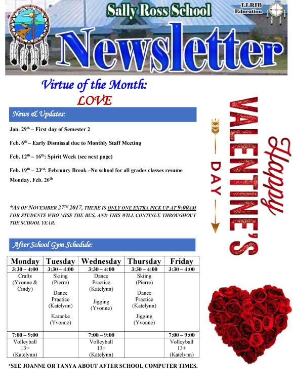 Sally Ross School  Newsletter February   Lac La Ronge Indian