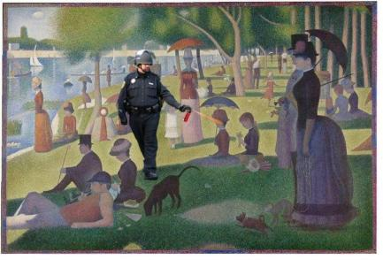 Lt John Pike pepper spraying A Sunday Afternoon on the Island of La Grande Jatte