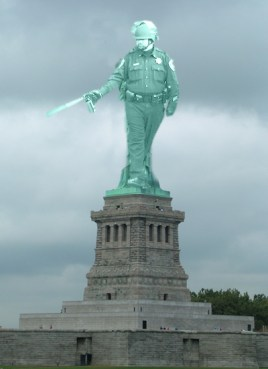 pepper spraying cop statue of liberty