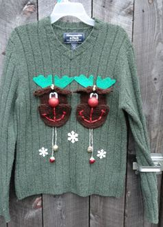 Mens sweater with knitted Rudolfs