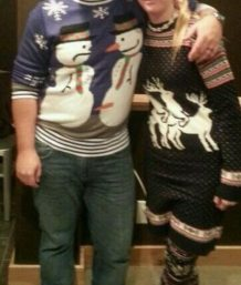 Ugly Christmas sweaters with sexual content.