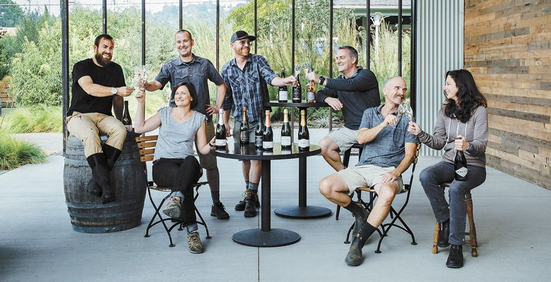 Standing: Nate Klostermann, Shane Moore of Gran Moraine. Sitting: Scott Dwyer of Chemeketa Community College Wine Studies Program; Robin Hawley of Sokol Blosser; James Frey of Trisaetum; Rollin Soles of ROCO Winery; and Ksenija Kostic House of Argyle. Photo by Kathryn Elsesser