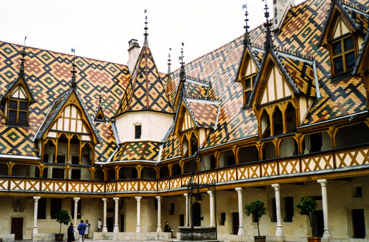 Hôtel Dieu in the Burgundy wine village of Beaune hosts the annual Hospices de Beaune wine auction each November.