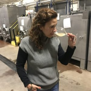 Ana Diago Draper, winemaker for Artesa Winery in Napa, CA. makes sparkling wine using the traditional méthode champenoise.