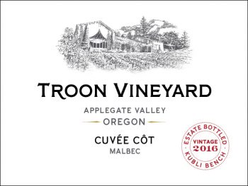 Troon Vineyard Cuvée Cot is a red wine made from Malbec grown in Applegate Valley, OR.