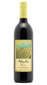 Abacella Tempranillo Fiesta ages 16 mos. in mostly used American oak barrels.