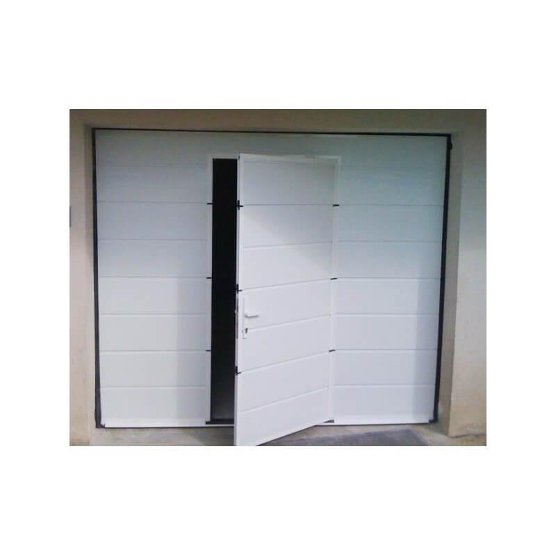 Porte De Garage Sectionnelle Avec Portillon En Blanc Lmc Ouvertures