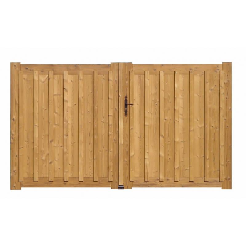 portail bois battant lames verticales en quinconce lmc ouvertures