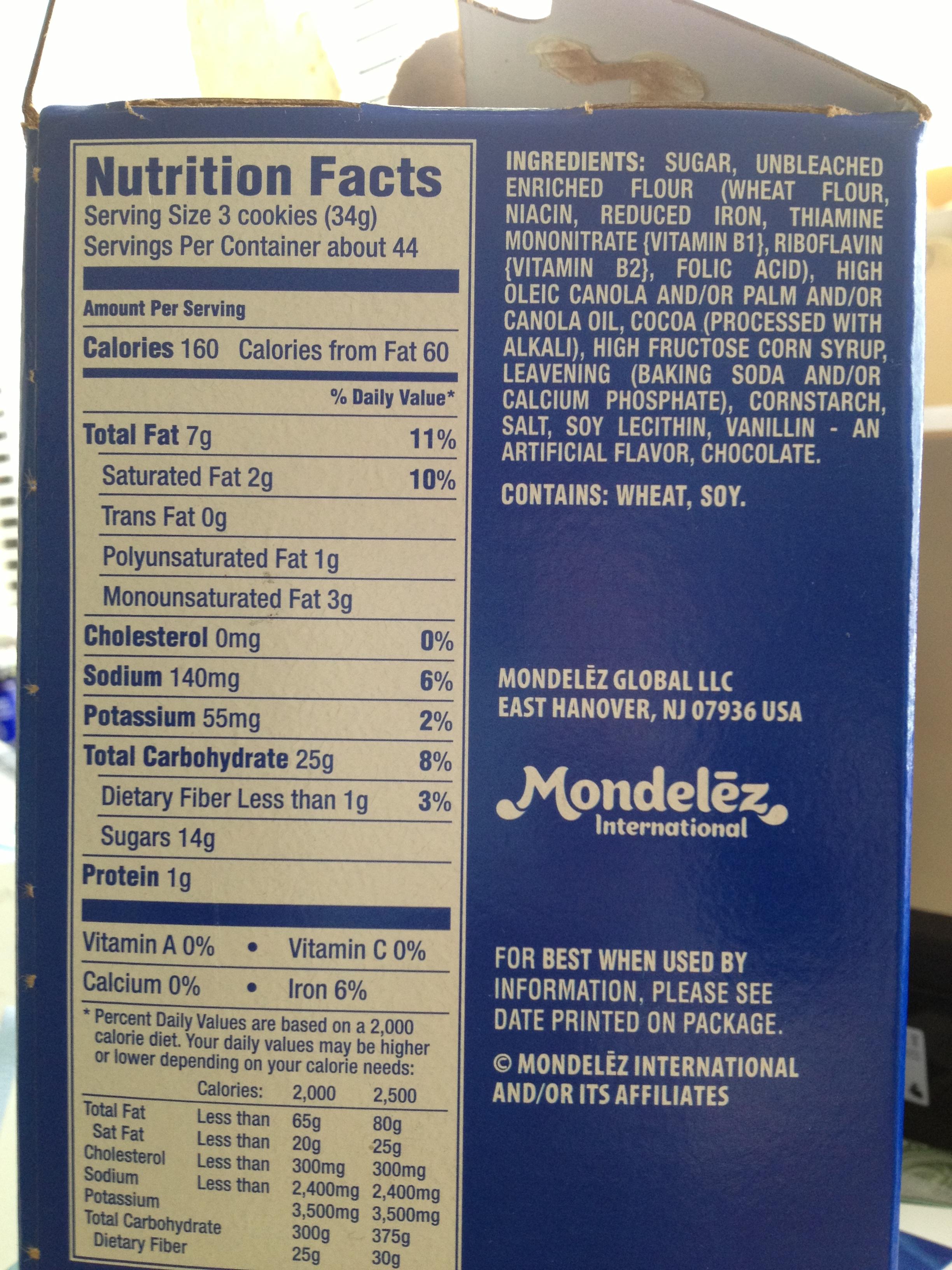 Cookies Oreo Food Label Ingredients