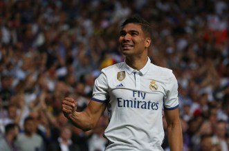 Casemiro celebrates after putting Real Madrid ahead. Image from: Reuters