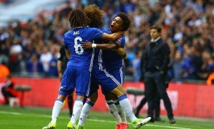 Willian celebrates with teammates after putting Chelsea ahead. Image from: BPI