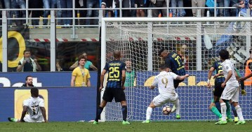 Inter's Gary Medel fails in his attempt to clear Cristián Zapata's effort off the line as the Colombian scores a last-minute equaliser. Image from: EPA