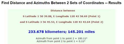 Azimuth calculation result, use the azimuth from 2 to 1 point