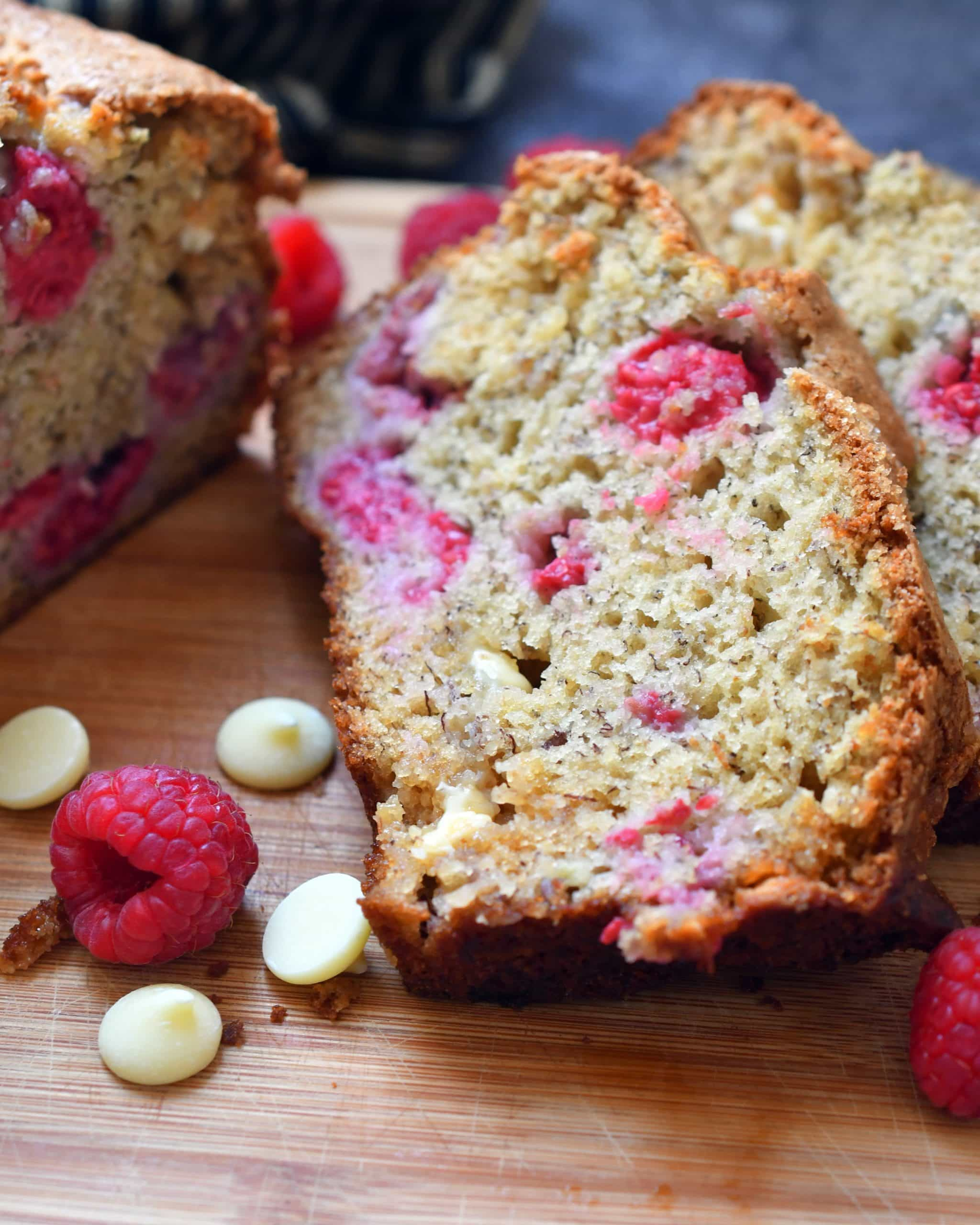 Flavor bursts of raspberries and white chocolate chips laced together in a moist bakery fresh banana bread.