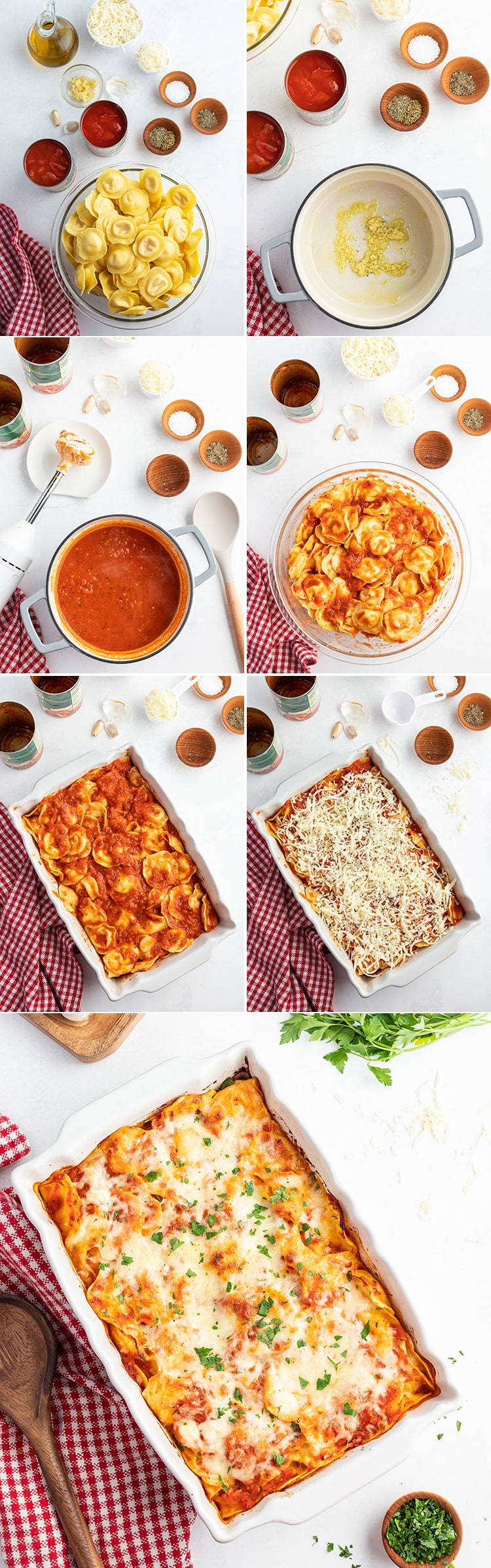 Step by step photos of how to make baked ravioli.