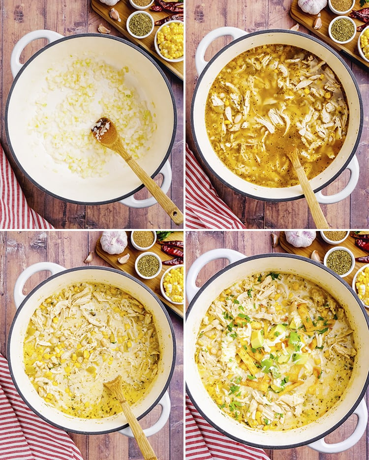 Four photos of white chicken chili being made in a pot. The first is sauteed onions, then chicken in broth, then added sour cream and it looks more creamy, then the last is the finished soup in a bowl topped with avocado and tortilla strips.