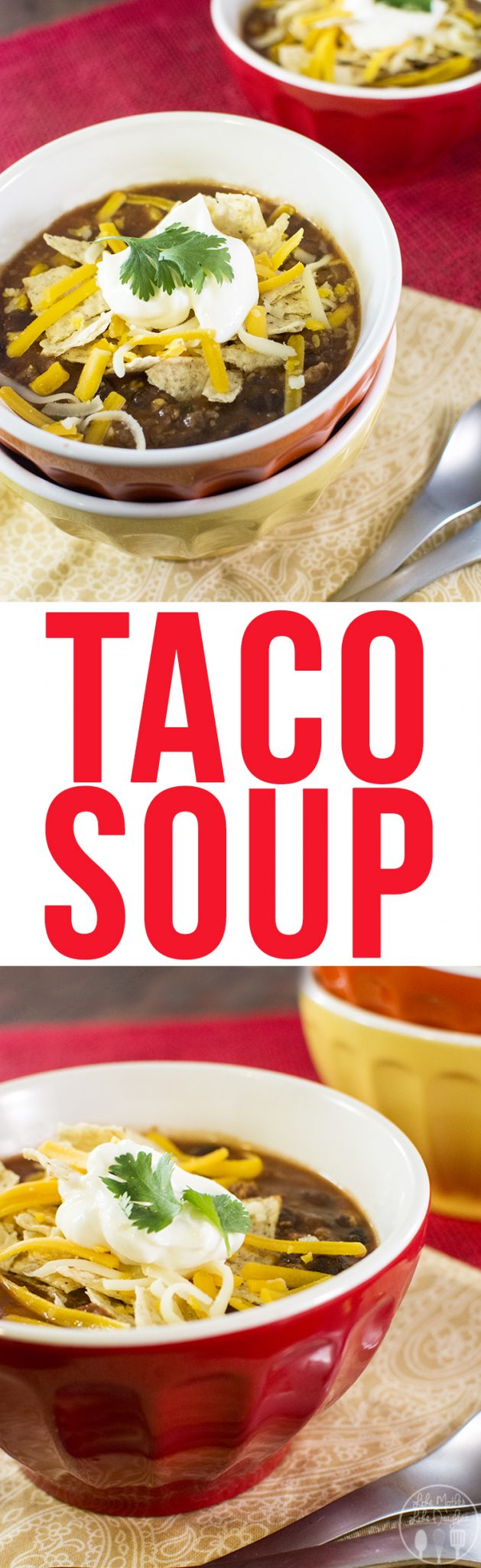 Taco Soup - this amazing taco soup is so easy to make! You just toss a bunch of ingredients into your crockpot and you're ready to go. This flavorful soup is the perfect fall comfort food!