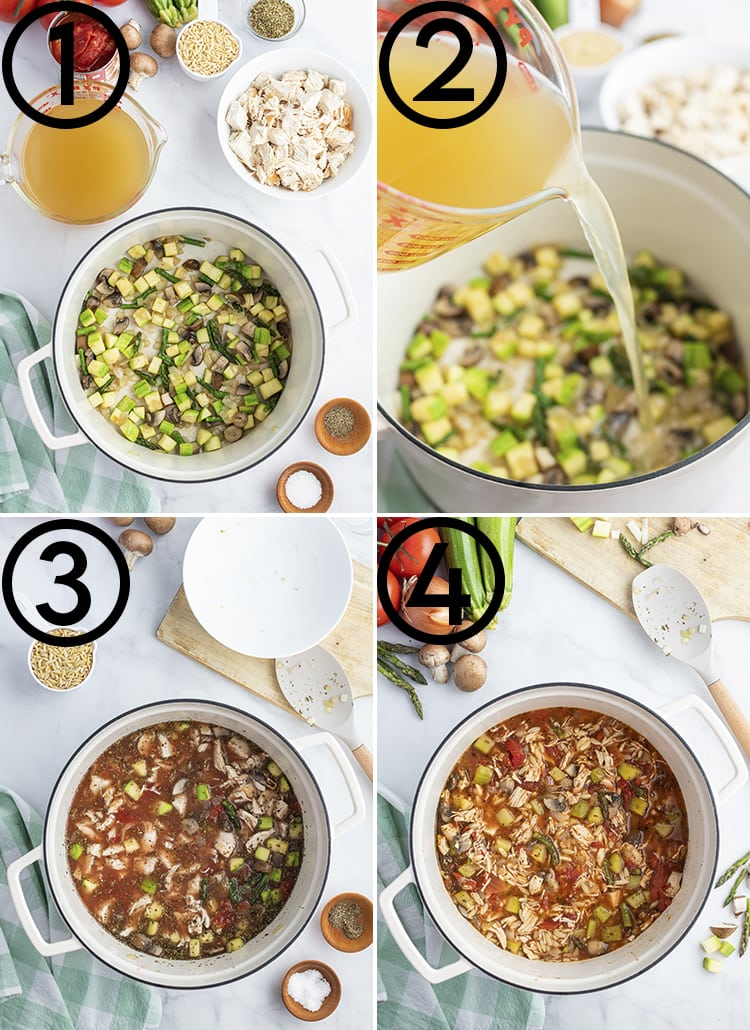 Four step by step photos to make Italian Turkey Orzo Soup. The first numbered one is vegetables sauteing in better. The second labeled 2 is adding chicken stock to the pot. The third labeled 3 is adding in the tomatoes, and chicken, and spices. The fourth is adding in the orzo.