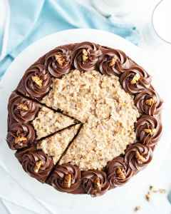 German Chocolate Cake with coconut pecan frosting and chocolate buttercream