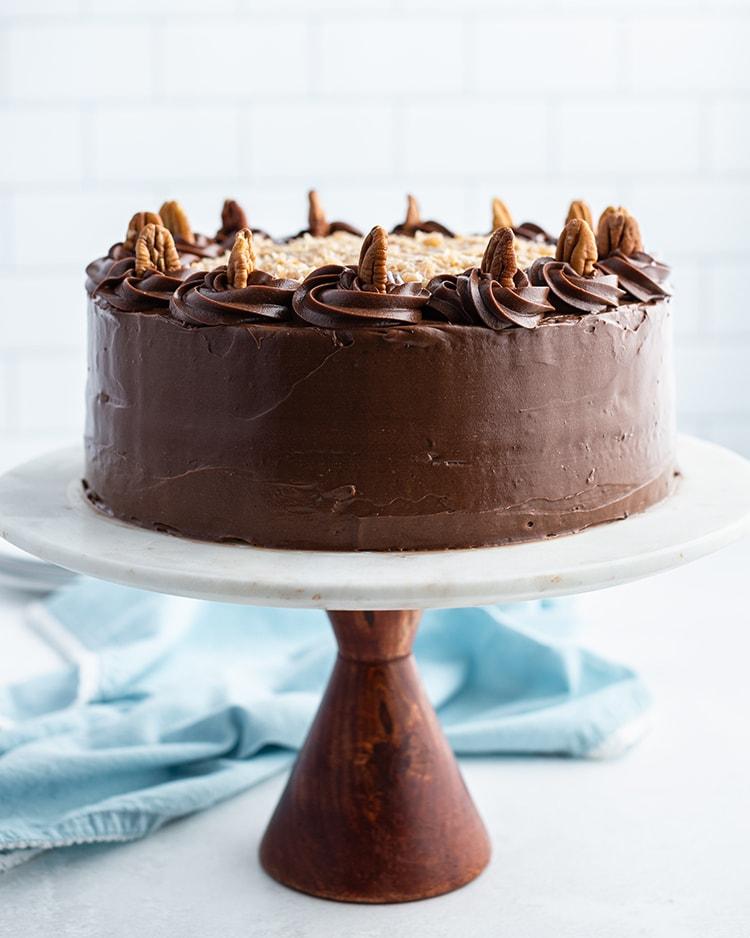 German Chocolate cake on a cake stand