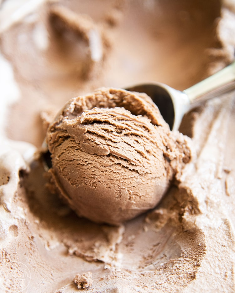 A scoop of rich chocolate ice cream