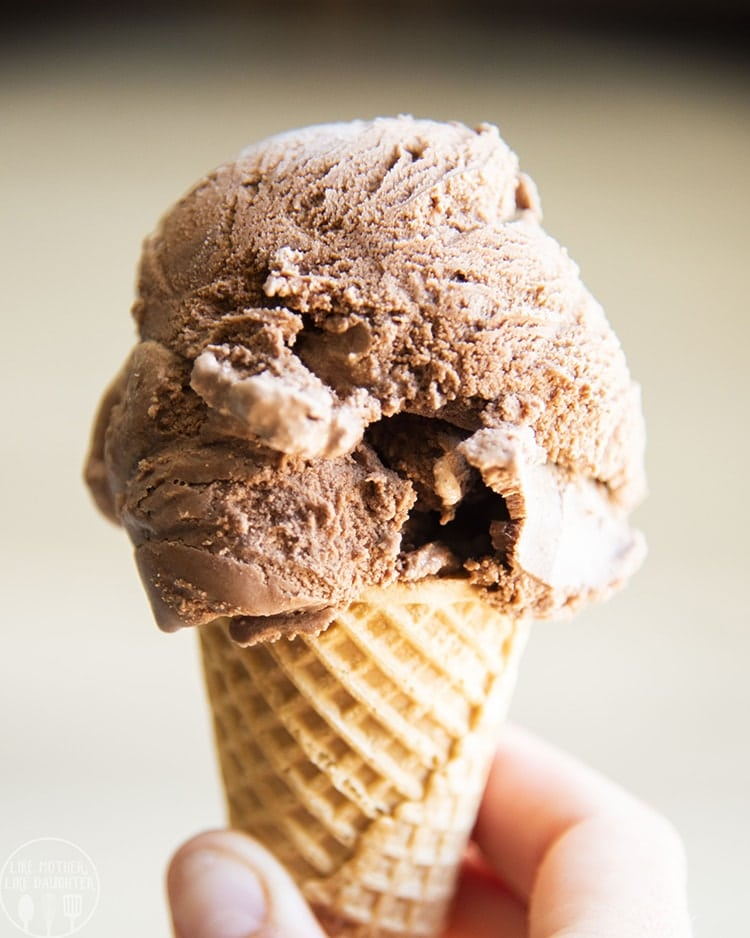 This chocolate ice cream in a cone, is so easy to make, with only 6 ingredients! It's ultra rich, thick, and creamy, and has the perfect chocolate flavor in every bite!