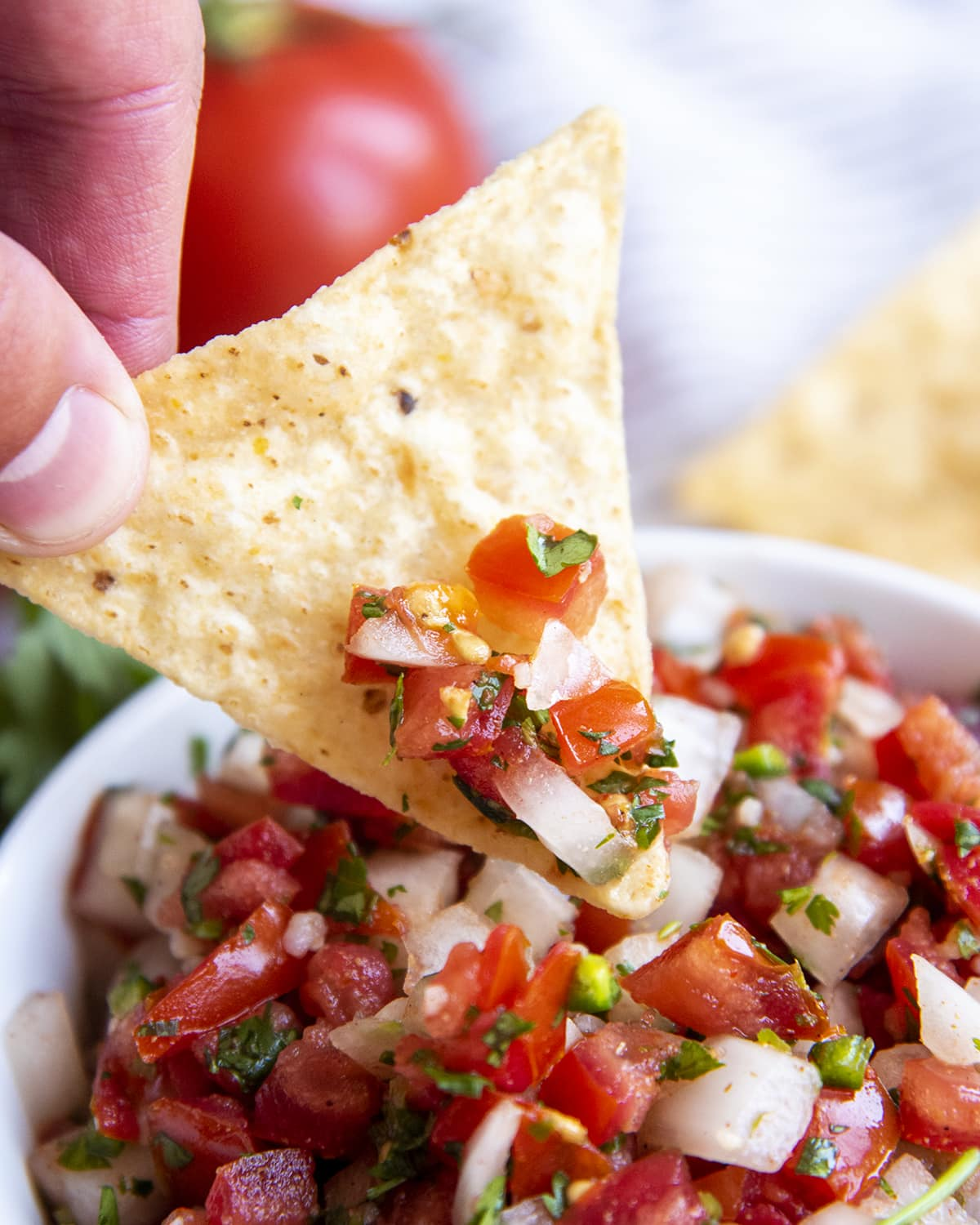 A tortilla chip dipping into a bowl of chunky salsa.