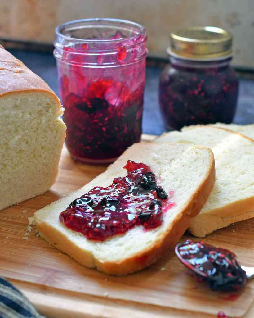 Raspberry Blueberry Jam is a small batch of homemade jam, full of the freshness of sweet raspberries and plumb blueberries with a touch of orange.