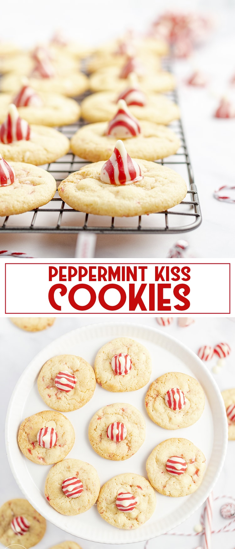 These peppermint kiss cookies are filled with crushed candy cane pieces and white chocolate chips in the dough, with a peppermint kiss on top. They're perfect for Christmas!