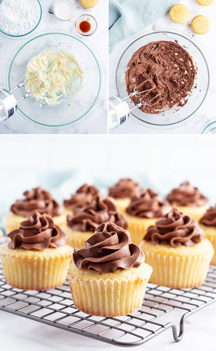 Step by step photos showing how to make chocolate buttercream, showing it mixed in a bowl with a hand mixer.