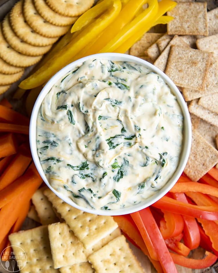 Easy spinach dip is perfect served with crackers and vegetabels