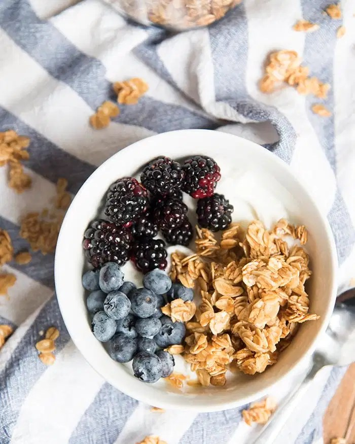 A simple granola base that is perfect on its own or with nuts, seeds or dried fruit.