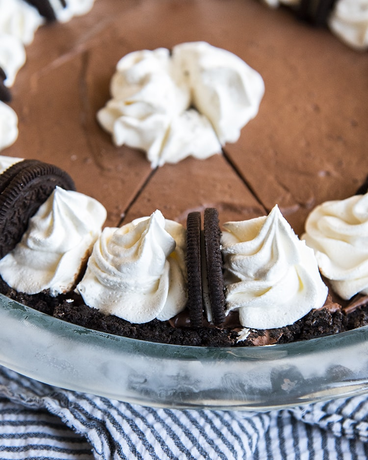 A chocolate pie slice in the pan.