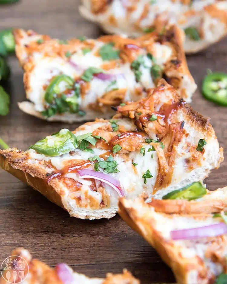 This bbq chicken french bread pizza is the perfect way to have homemade bbq chicken pizza in only about 15 minutes!