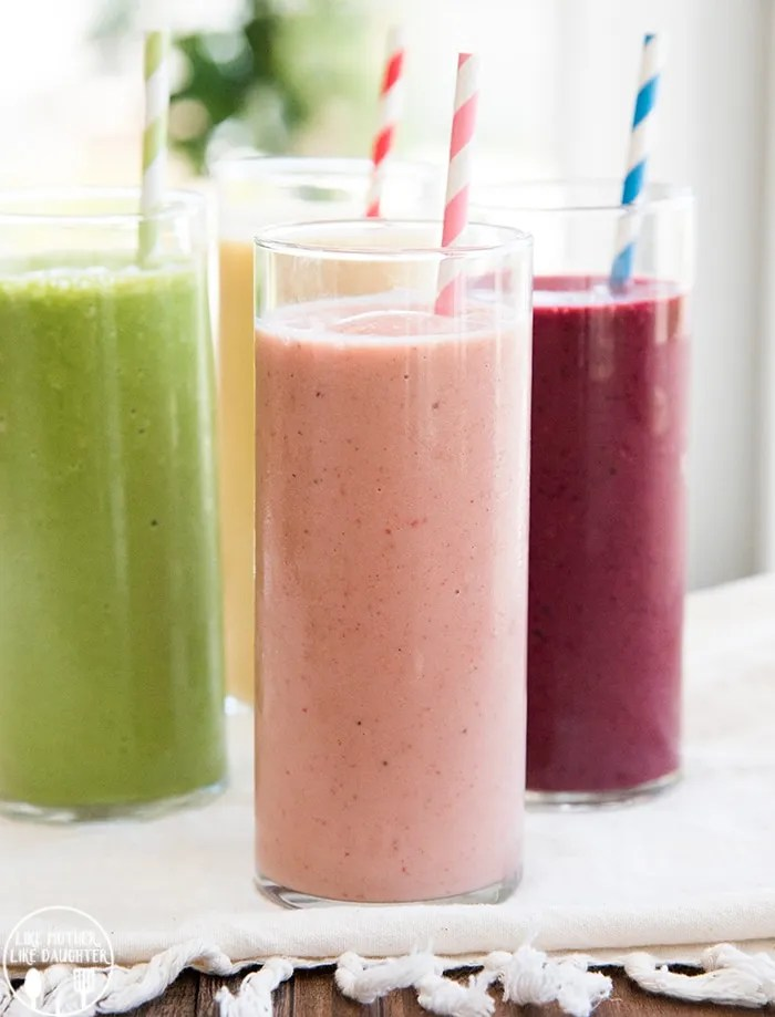 Fruit Smoothie Recipes for breakfast or a healthier snack!