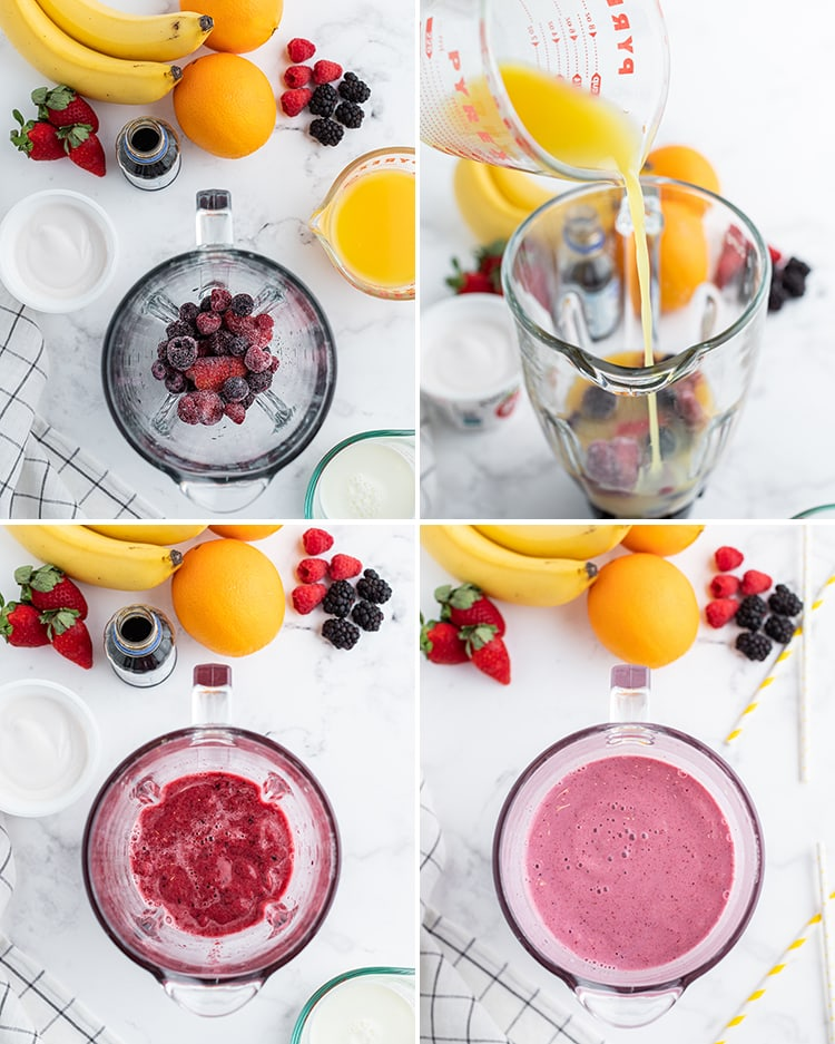Step by step photos of how to make an orange berry smoothie in a blender.